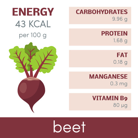 Nutritional value of beet, vector infographic elements