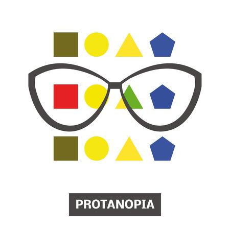 retinal: Concept of color blindness, vector Illustration