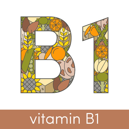 b1: Letter B and number 1 symbolizing vitamin B1 concept