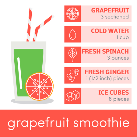 grapefruit: Vector template for recipe of grapefruit smoothie