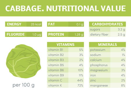 nutrients: Nutritional value of headed cabbage, vector infographic elements