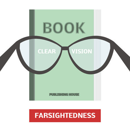 Farsightedness concept, vector illustration. Poor eyesight and corrected vision with optical glasses