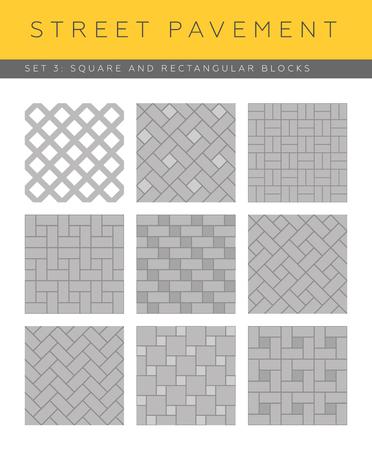 cobblestone street: Set of vector street pavements: square and rectangular blocks