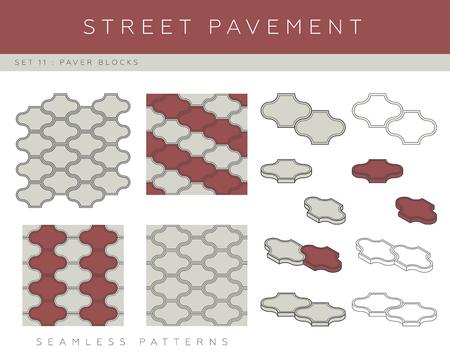Set of concrete paver blocks and seamless patterns