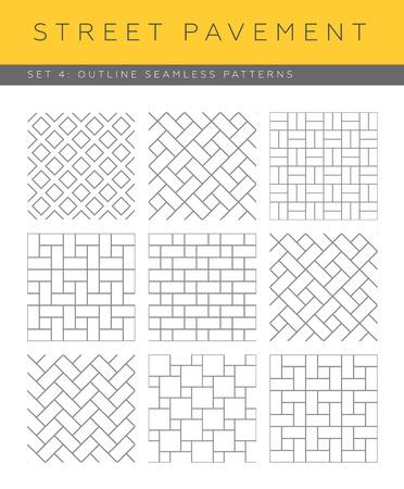 Set of outline street pavement seamless patterns Illustration
