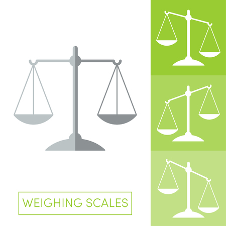 overbalance: Cartoon flat weighing scales icons Illustration