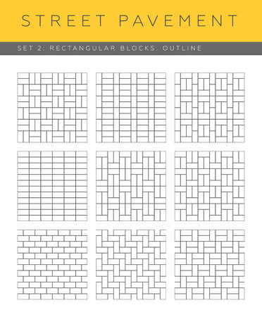 Set of vector outline street pavements: rectangular blocks