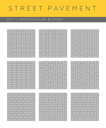 Set of vector street pavements: rectangular blocks Illustration