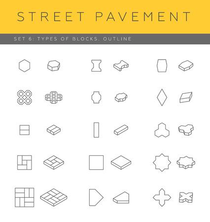 Set of concrete paver blocks