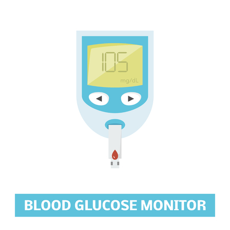 type 1 diabetes: Vector illustration of electrical blood glucose monitor
