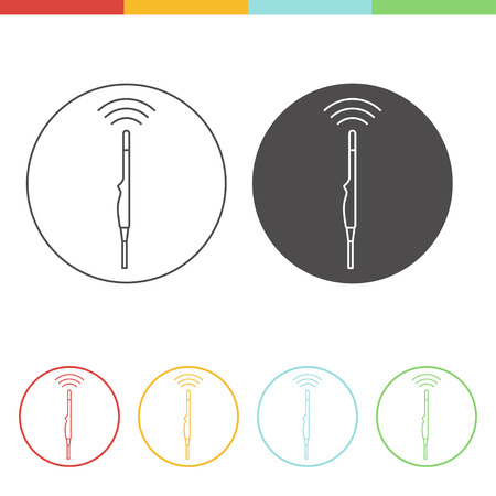 transducer: Medical ultrasound icon - intrarectal transducer. Thin line vector pictograms of sonography in different colors Illustration