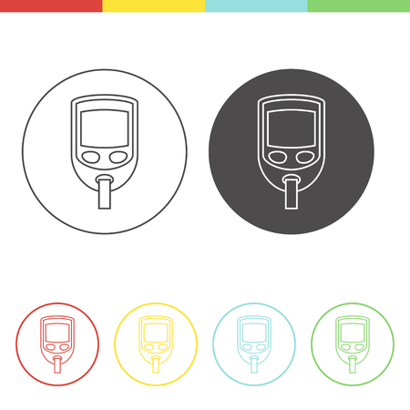 type 1 diabetes: Vector pictograms of electrical blood glucose monitor