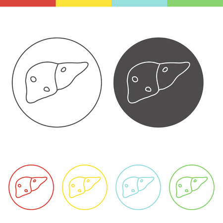 fatty liver: Vector pictograms of fatty liver disease. Set of medical icons in thin line style