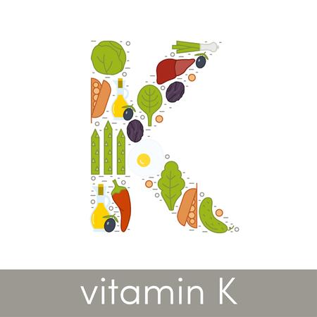 kale: Vector letter K symbolizing vitamin K concept