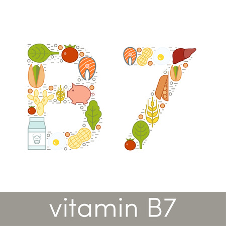 biotin: Letter B and number 7 symbolizing vitamin B7 concept Illustration