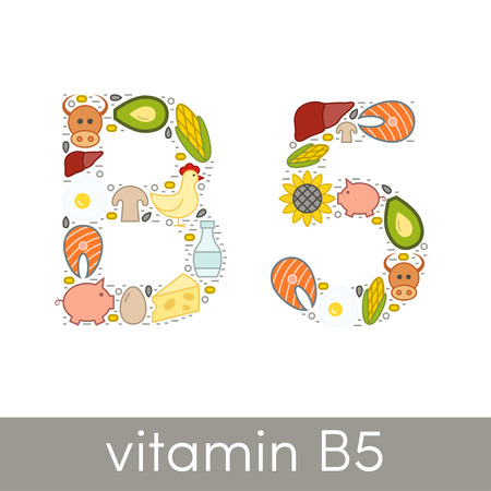 Letter B and number 5 symbolizing vitamin B5 concept