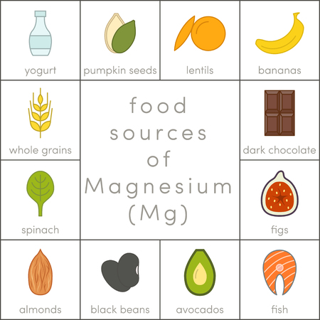 Food sources of magnesium, vector flat food icons for infographic Ilustração