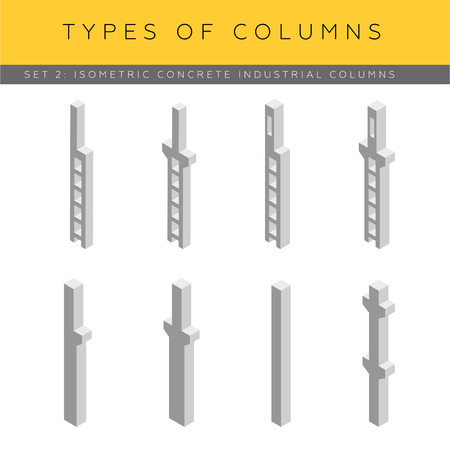 footing: Set of isometric concrete industrial columns, vector icons