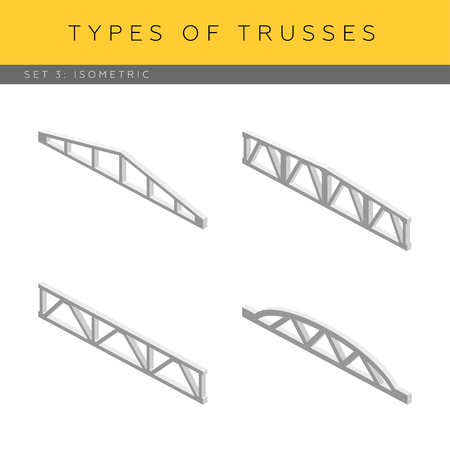 planar: Set of isometric concrete trusses, vector icons