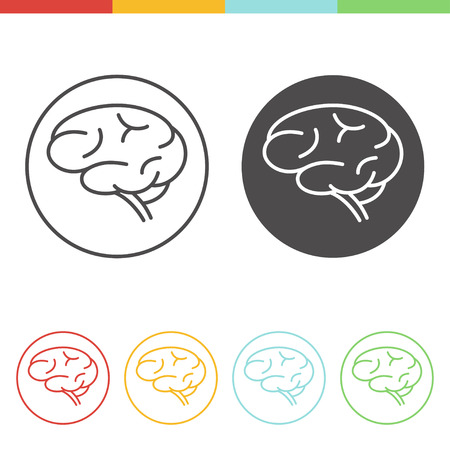 mentality: Human brain vector icons in linear style. Simple outline pictograms