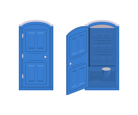 Opened and closed portable chemical toilet. Vector blue icon