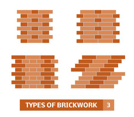 Types of brickwork. Vector set of brick course patterns
