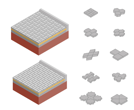 Street pavement design. Isometric vector layered diagram and set of concrete paver blocks