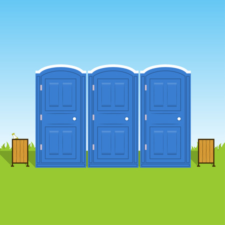 Portable chemical toilets. Vector blue illustration Illustration