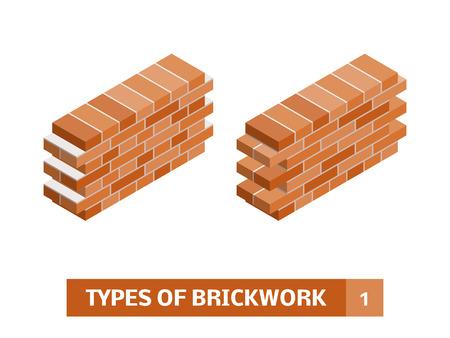 Types of brickwork. Vector set of isometric brick course patterns