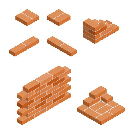 Brickwork: vector set of isometric masonry items