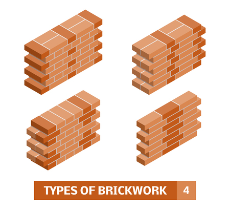 Types of brickwork. Vector set of isometric brick course patterns