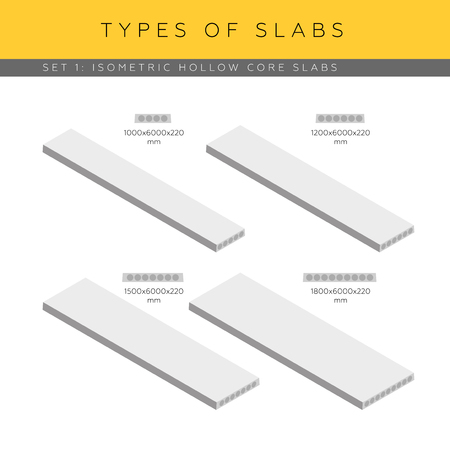 Types of concrete hollow core planks. Set of vector isometric icons