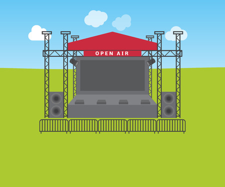 Empty stage for open air festival, vector illustration Illustration