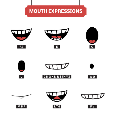 Mouth expressions vector set. Lip sync for character animation