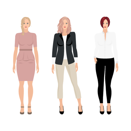 Caucasian vector business women in different clothes