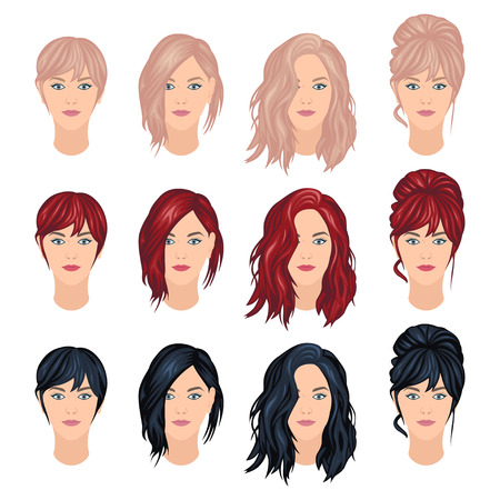 Vector set of woman haircuts in trendy colors, front view