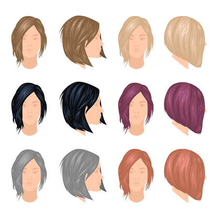 Vector set of trendy woman hairstyles, front and profile view