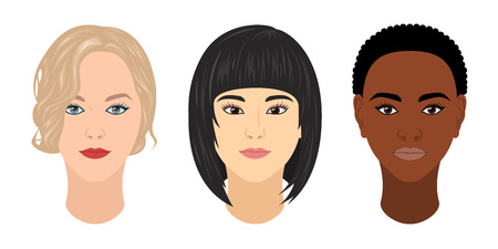 Vector womens heads of different races: caucasian, mongolian and ethiopian Illustration