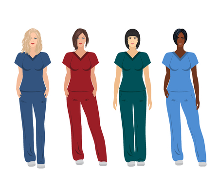 Vector set of caucasian, asian and black female doctors wearing scrubs Illustration
