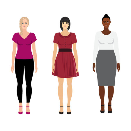 Vector women of different races: caucasian, mongolian and ethiopian