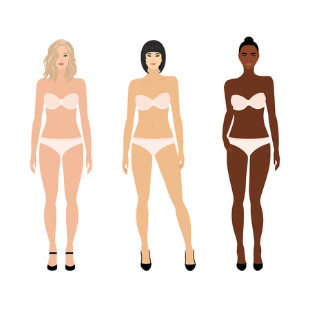 Set of vector women in underwear: caucasian, asian and black Illustration