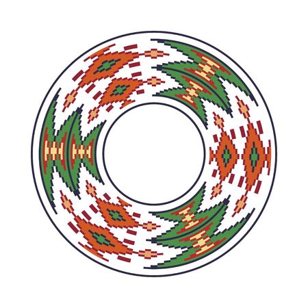punto de cruz: Ornamento ucraniano tradicional redondo. Patrón de píxeles circulares étnicos del vector Vectores