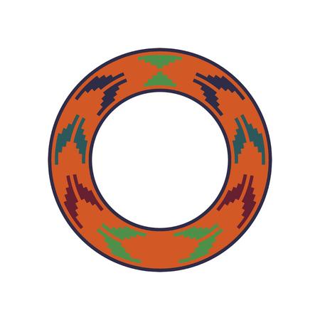 Round traditional Ukrainian ornament. Vector ethnic circular pixel pattern