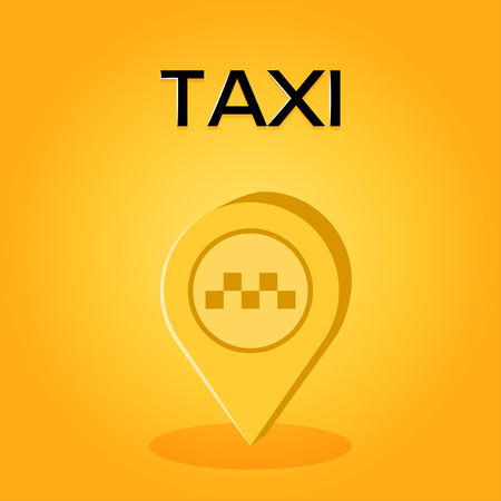 Vector taxi icon. Map pin in simple flat style