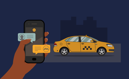 Vector taxi booking concept. Hand holding smartphone with message notifications and approaching cab on night city background