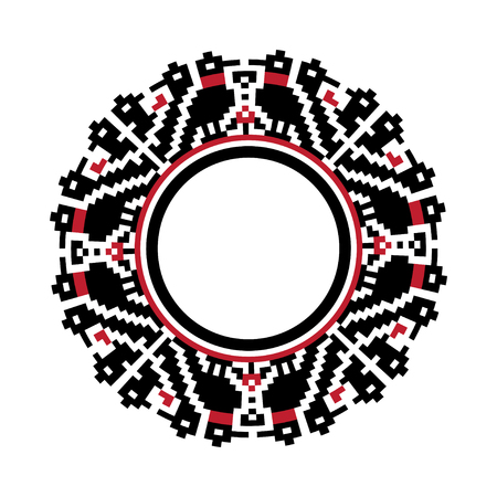 Round traditional Ukrainian ornament. Vector ethnic circular pixel pattern