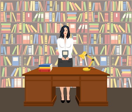 Female librarian holding a book in a library, vector