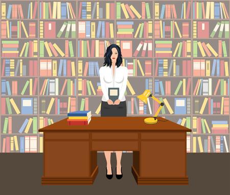 Bibliothécaire femme tenant un livre dans une bibliothèque, vecteur