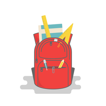 Vector backpack full of school supplies in simple flat style