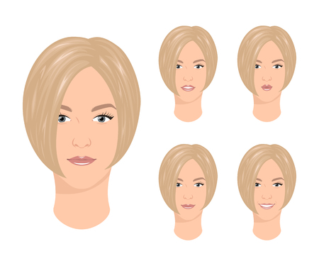 Woman with various facial expressions